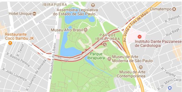 Mapa Complexo Viário Ayrton Senna